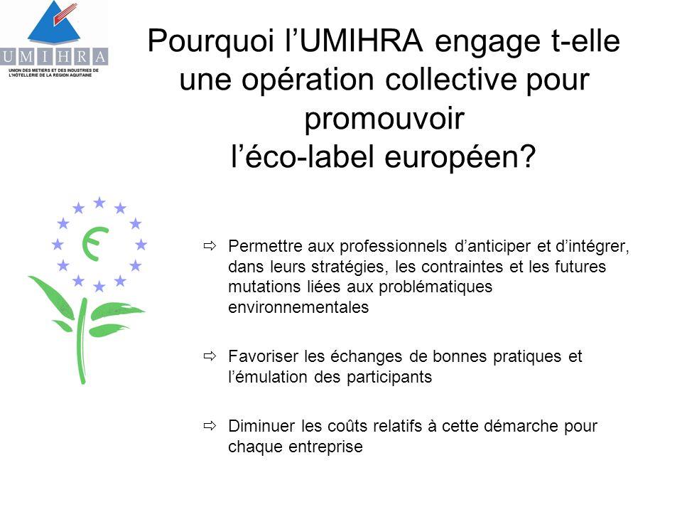 Pourquoi lUMIHRA engage t-elle une opération collective pour promouvoir léco-label européen? Permettre aux professionnels danticiper et dintégrer, dan