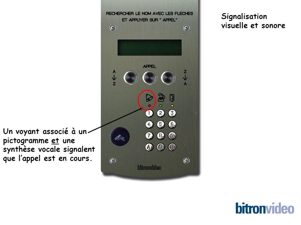 Un voyant associé à un pictogramme et une synthèse vocale signalent que lappel est en cours.