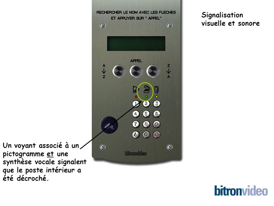 Un voyant associé à un pictogramme et une synthèse vocale signalent que le poste intérieur a été décroché.
