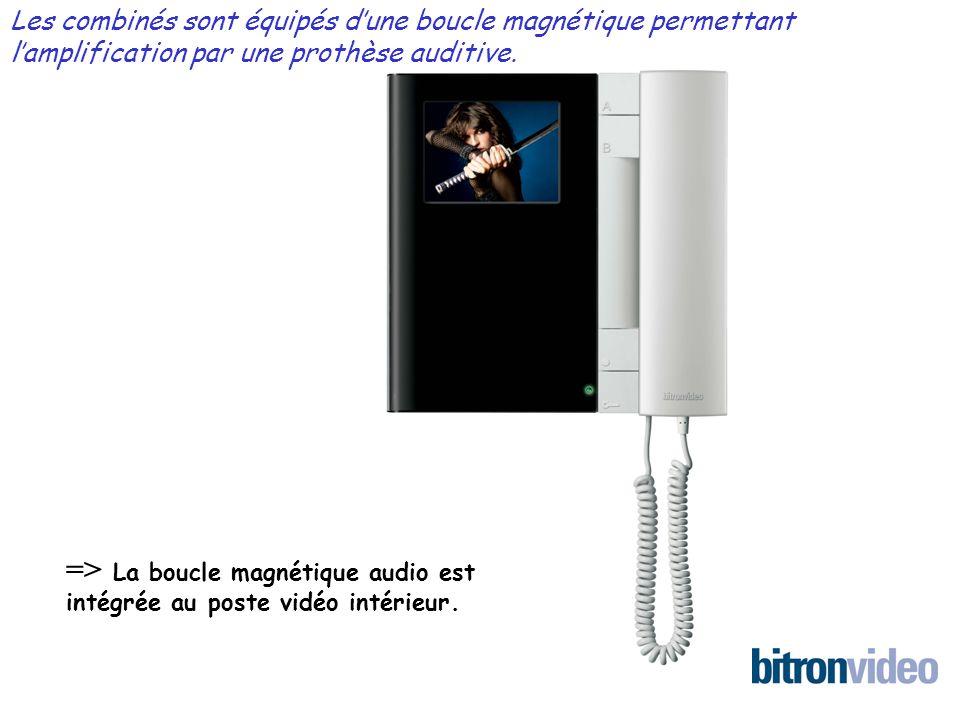 => La boucle magnétique audio est intégrée au poste vidéo intérieur. Les combinés sont équipés dune boucle magnétique permettant lamplification par un
