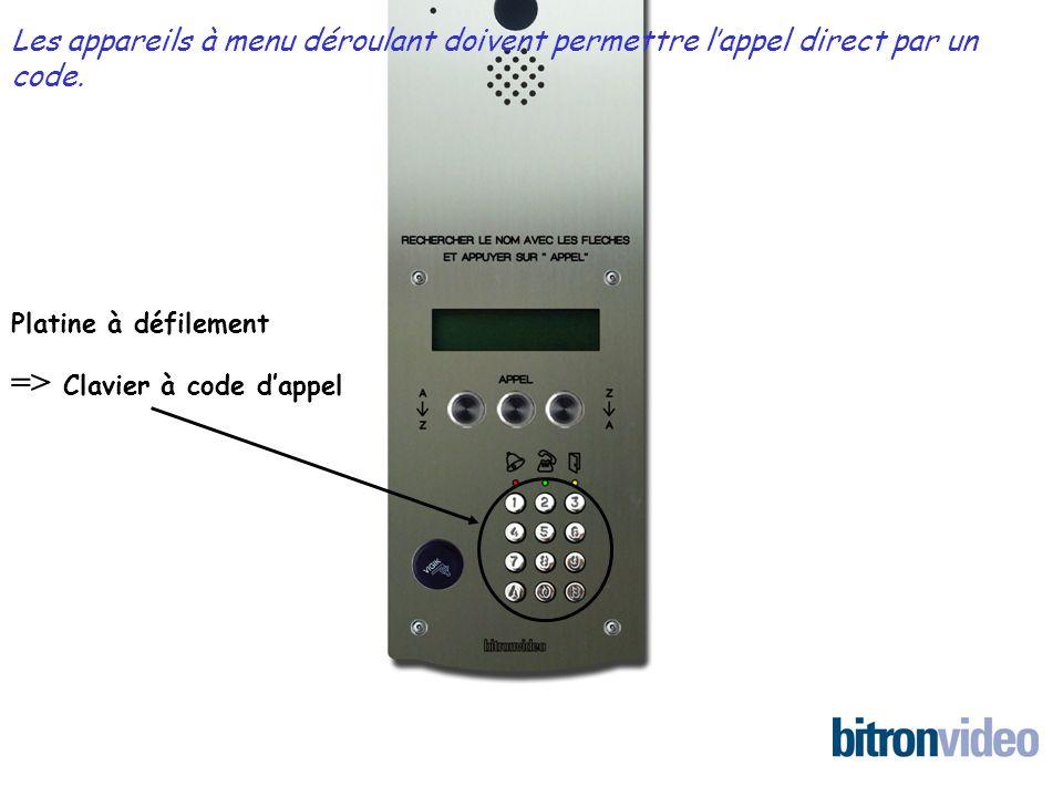 Platine à défilement => Clavier à code dappel Les appareils à menu déroulant doivent permettre lappel direct par un code.