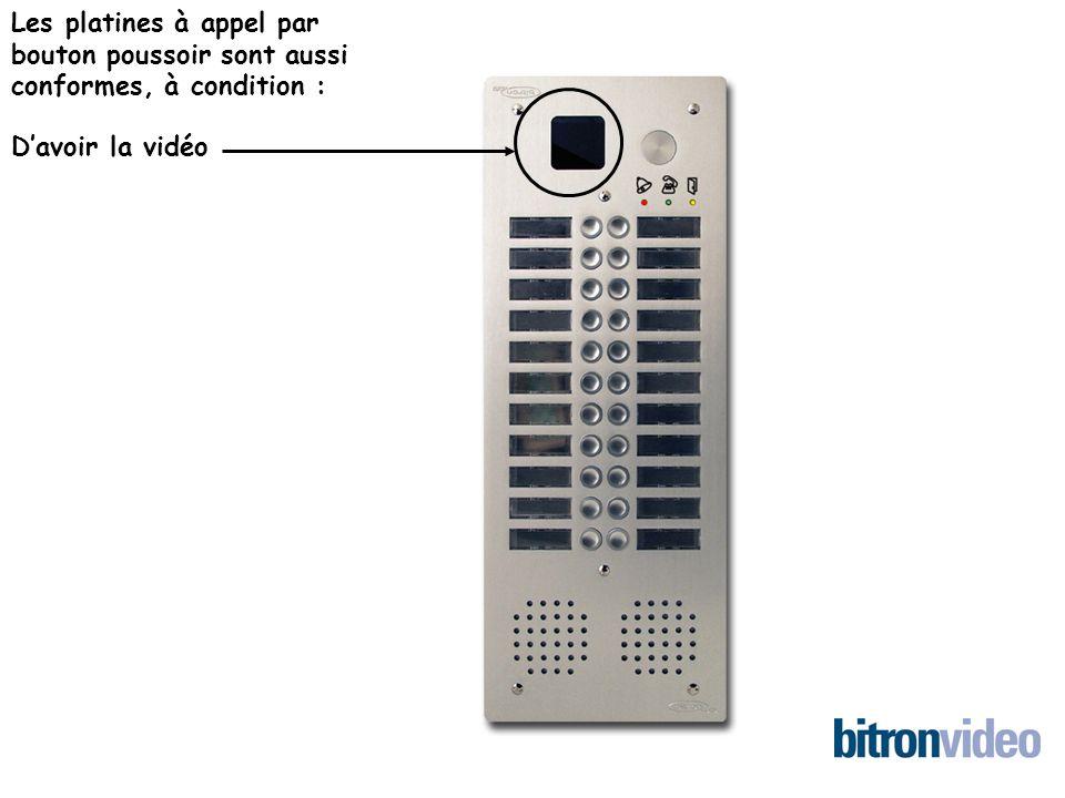 Les platines à appel par bouton poussoir sont aussi conformes, à condition : Davoir la vidéo