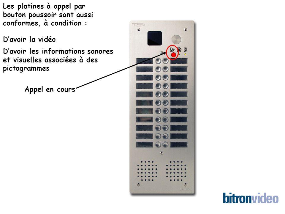 Les platines à appel par bouton poussoir sont aussi conformes, à condition : Davoir la vidéo Davoir les informations sonores et visuelles associées à des pictogrammes Appel en cours
