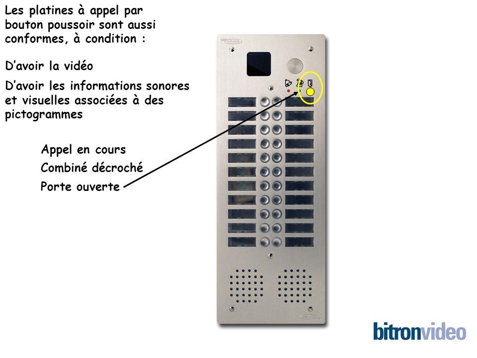 Les platines à appel par bouton poussoir sont aussi conformes, à condition : Davoir la vidéo Davoir les informations sonores et visuelles associées à des pictogrammes Appel en cours Porte ouverte Combiné décroché