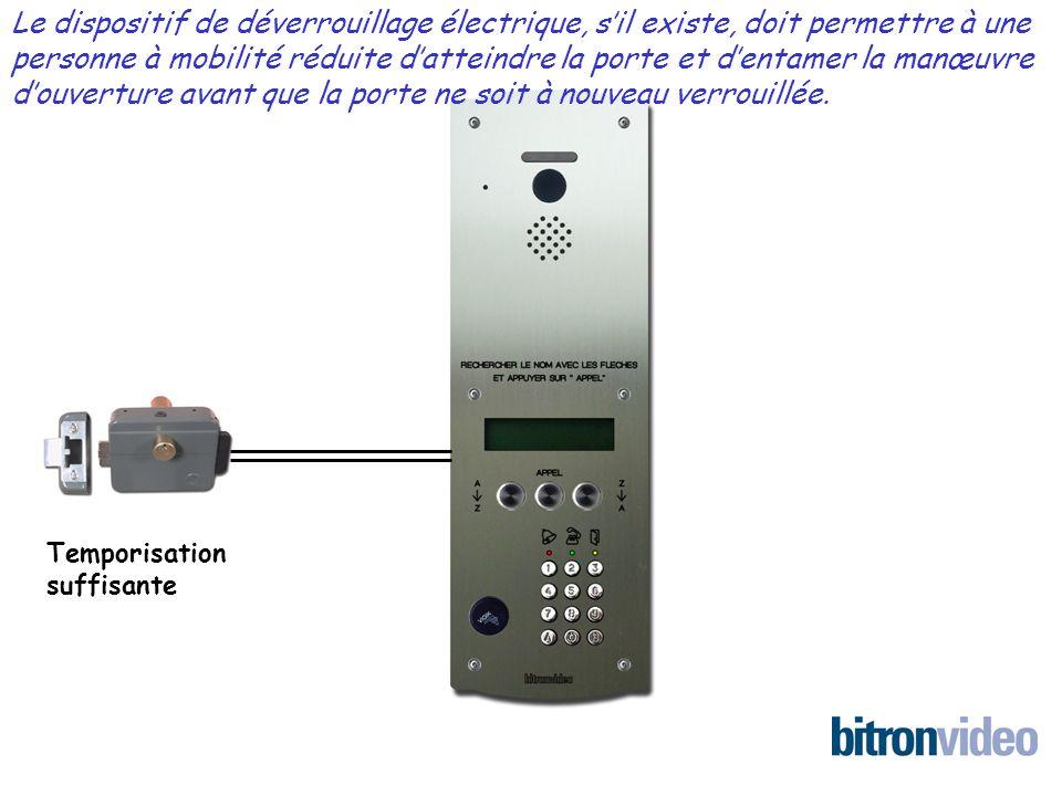 Temporisation suffisante Le dispositif de déverrouillage électrique, sil existe, doit permettre à une personne à mobilité réduite datteindre la porte et dentamer la manœuvre douverture avant que la porte ne soit à nouveau verrouillée.