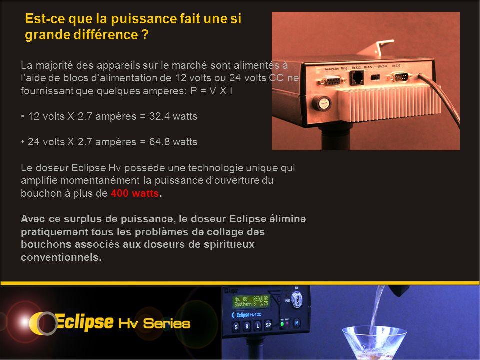 La majorité des appareils sur le marché sont alimentés à laide de blocs dalimentation de 12 volts ou 24 volts CC ne fournissant que quelques ampères: P = V X I 12 volts X 2.7 ampères = 32.4 watts 24 volts X 2.7 ampères = 64.8 watts Le doseur Eclipse Hv possède une technologie unique qui amplifie momentanément la puissance douverture du bouchon à plus de 400 watts.