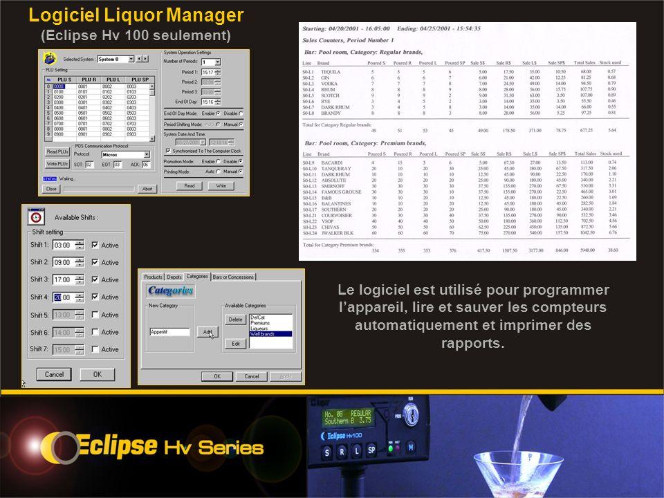 Logiciel Liquor Manager (Eclipse Hv 100 seulement) Le logiciel est utilisé pour programmer lappareil, lire et sauver les compteurs automatiquement et imprimer des rapports.