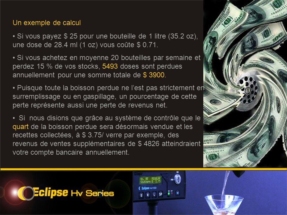 Un exemple de calcul Si vous payez $ 25 pour une bouteille de 1 litre (35.2 oz), une dose de 28.4 ml (1 oz) vous coûte $ 0.71.