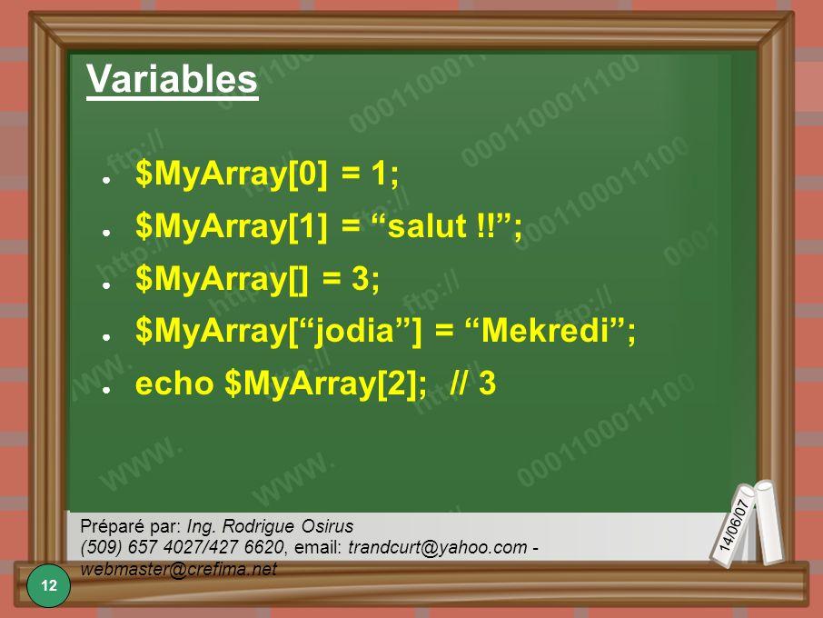 14/06/07 Préparé par: Ing. Rodrigue Osirus (509) 657 4027/427 6620, email: trandcurt@yahoo.com - webmaster@crefima.net Variables $MyArray[0] = 1; $MyA