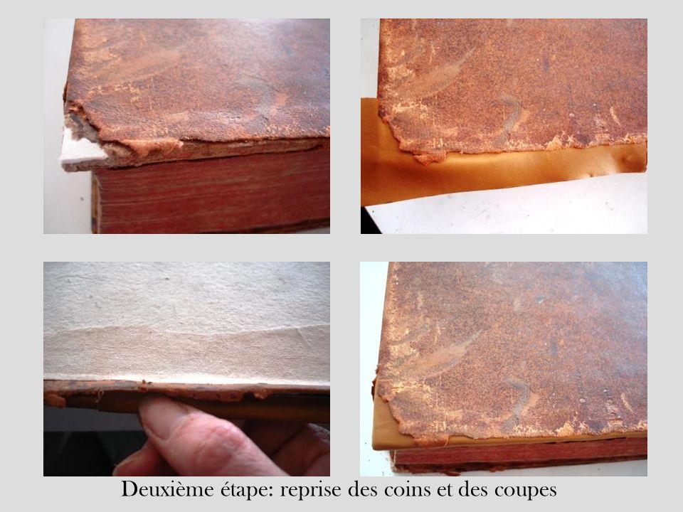 Deuxième étape: doublage du dos, reprise des coiffes et repositionnement des éléments conservés du dos dorigine, remise de la reliure à la teinte