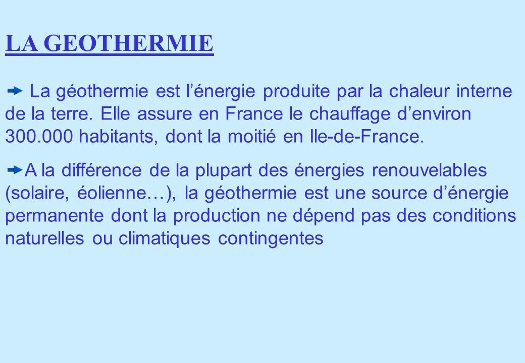 La géothermie est lénergie produite par la chaleur interne de la terre. Elle assure en France le chauffage denviron 300.000 habitants, dont la moitié