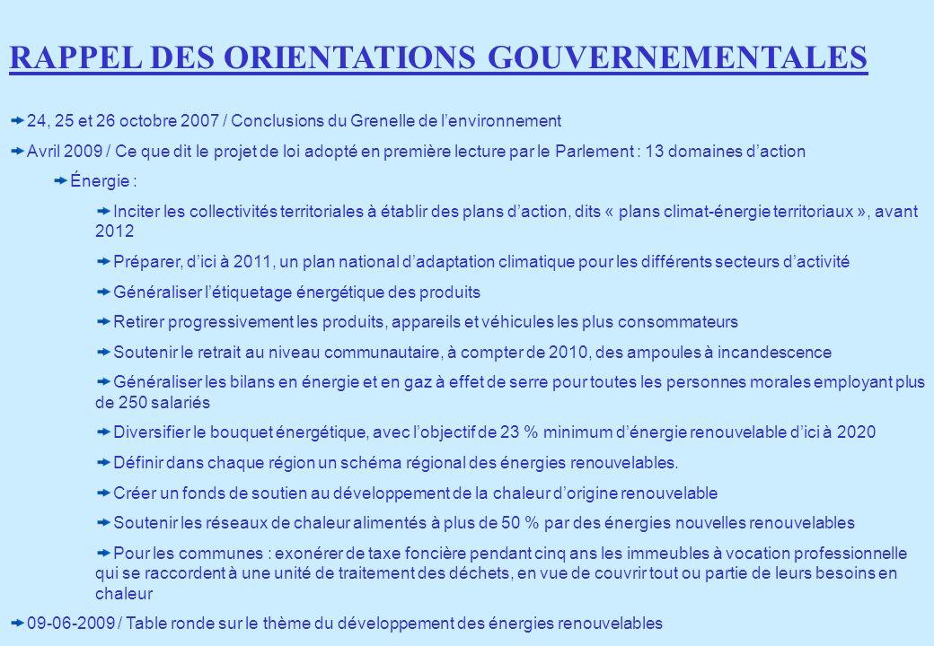 24, 25 et 26 octobre 2007 / Conclusions du Grenelle de lenvironnement Avril 2009 / Ce que dit le projet de loi adopté en première lecture par le Parle