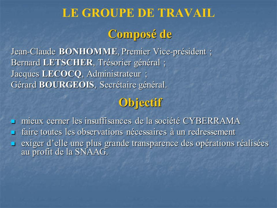 LE GROUPE DE TRAVAILComposé de Jean-Claude BONHOMME, Premier Vice-président ; Bernard LETSCHER, Trésorier général ; Jacques LECOCQ, Administrateur ; Gérard BOURGEOIS, Secrétaire général.