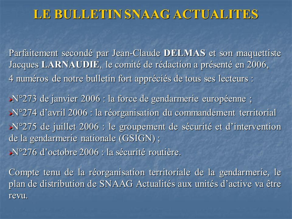 LE BULLETIN SNAAG ACTUALITES Parfaitement secondé par Jean-Claude DELMAS et son maquettiste Jacques LARNAUDIE, le comité de rédaction a présenté en 2006, 4 numéros de notre bulletin fort appréciés de tous ses lecteurs : N°273 de janvier 2006 : la force de gendarmerie européenne ; N°273 de janvier 2006 : la force de gendarmerie européenne ; N°274 davril 2006 : la réorganisation du commandement territorial N°274 davril 2006 : la réorganisation du commandement territorial N°275 de juillet 2006 : le groupement de sécurité et dintervention de la gendarmerie nationale (GSIGN) ; N°275 de juillet 2006 : le groupement de sécurité et dintervention de la gendarmerie nationale (GSIGN) ; N°276 doctobre 2006 : la sécurité routière.