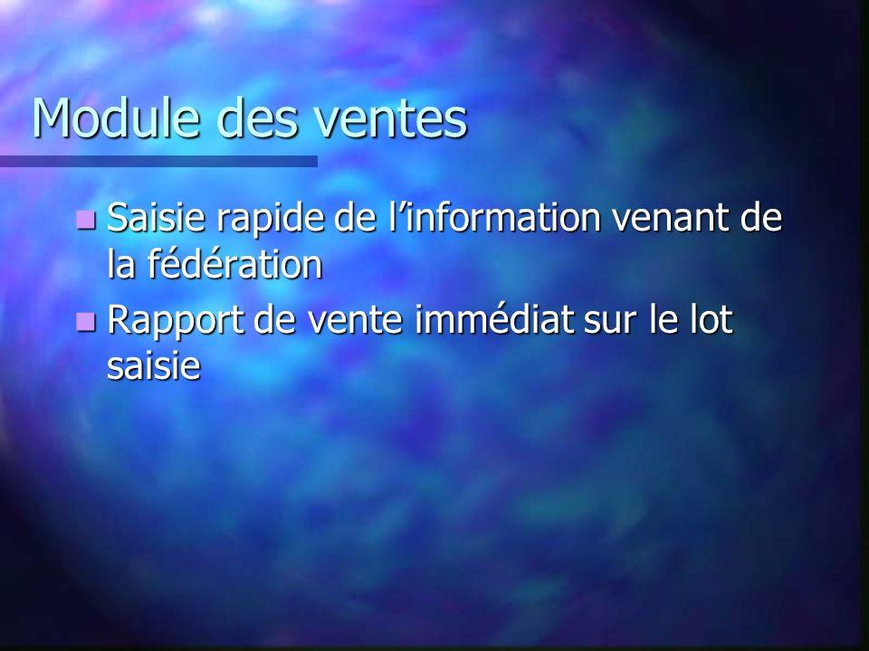 Module des ventes Saisie rapide de linformation venant de la fédération Saisie rapide de linformation venant de la fédération Rapport de vente immédia