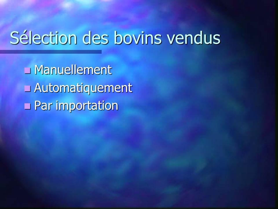 Sélection des bovins vendus Manuellement Manuellement Automatiquement Automatiquement Par importation Par importation
