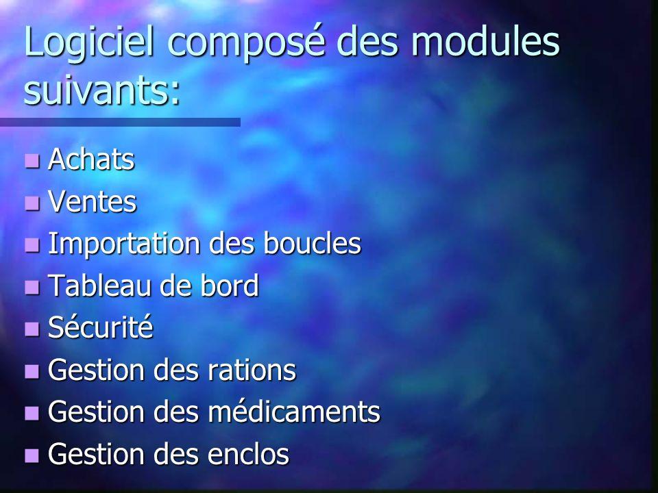 Logiciel composé des modules suivants: Achats Achats Ventes Ventes Importation des boucles Importation des boucles Tableau de bord Tableau de bord Séc