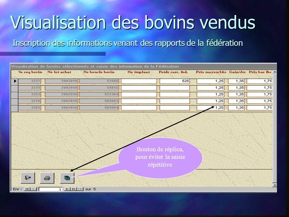 Visualisation des bovins vendus Inscription des informations venant des rapports de la fédération Bouton de réplica, pour éviter la saisie répétitive