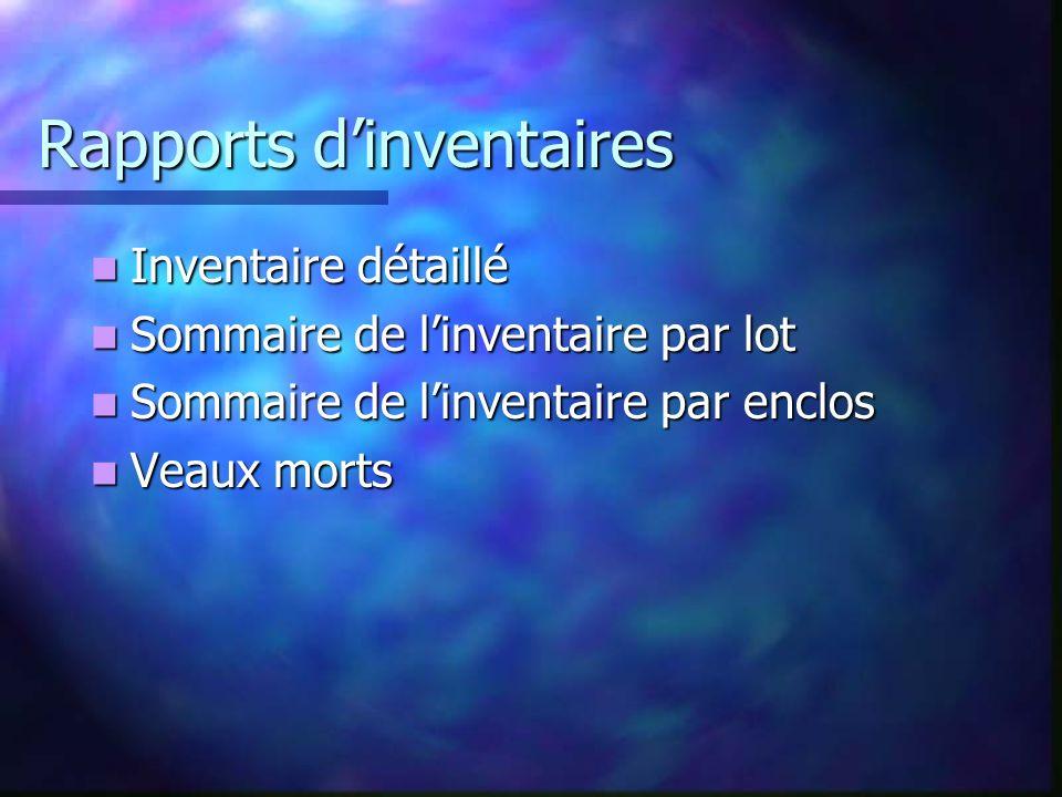 Rapports dinventaires Inventaire détaillé Inventaire détaillé Sommaire de linventaire par lot Sommaire de linventaire par lot Sommaire de linventaire