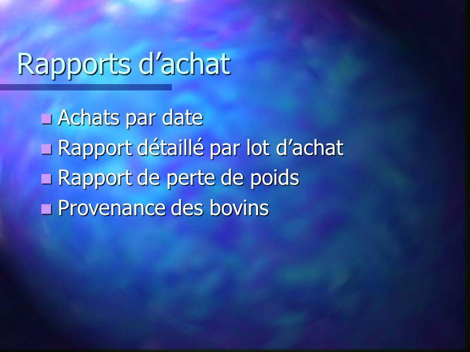 Rapports dachat Achats par date Achats par date Rapport détaillé par lot dachat Rapport détaillé par lot dachat Rapport de perte de poids Rapport de perte de poids Provenance des bovins Provenance des bovins