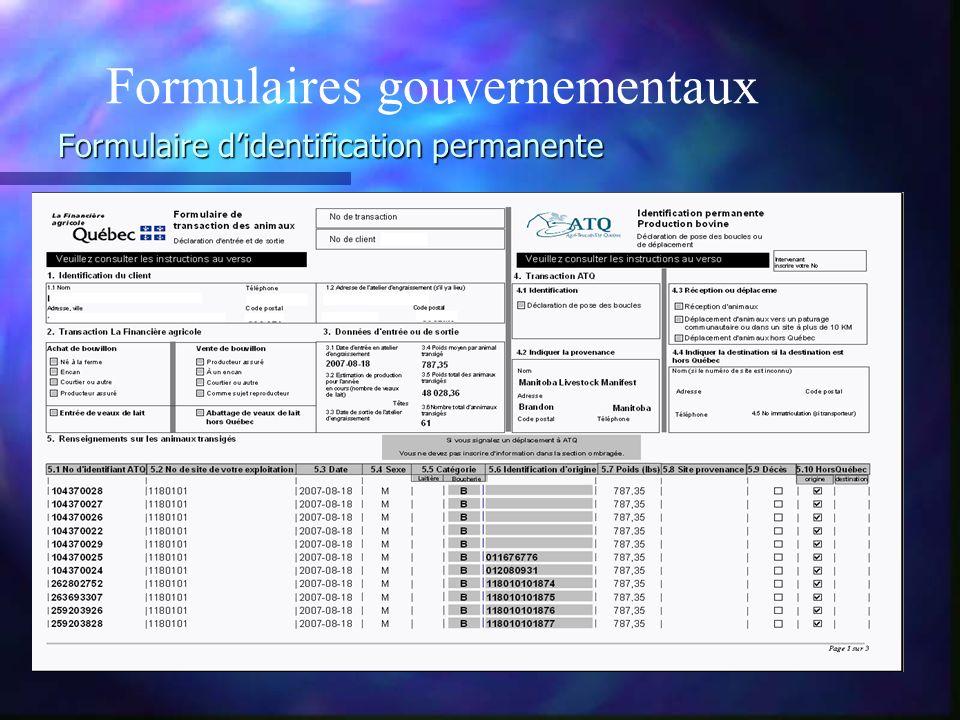 Formulaire didentification permanente Formulaires gouvernementaux