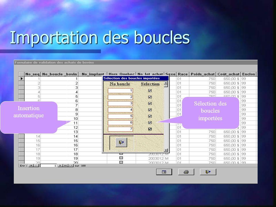 Importation des boucles Sélection des boucles importées Insertion automatique