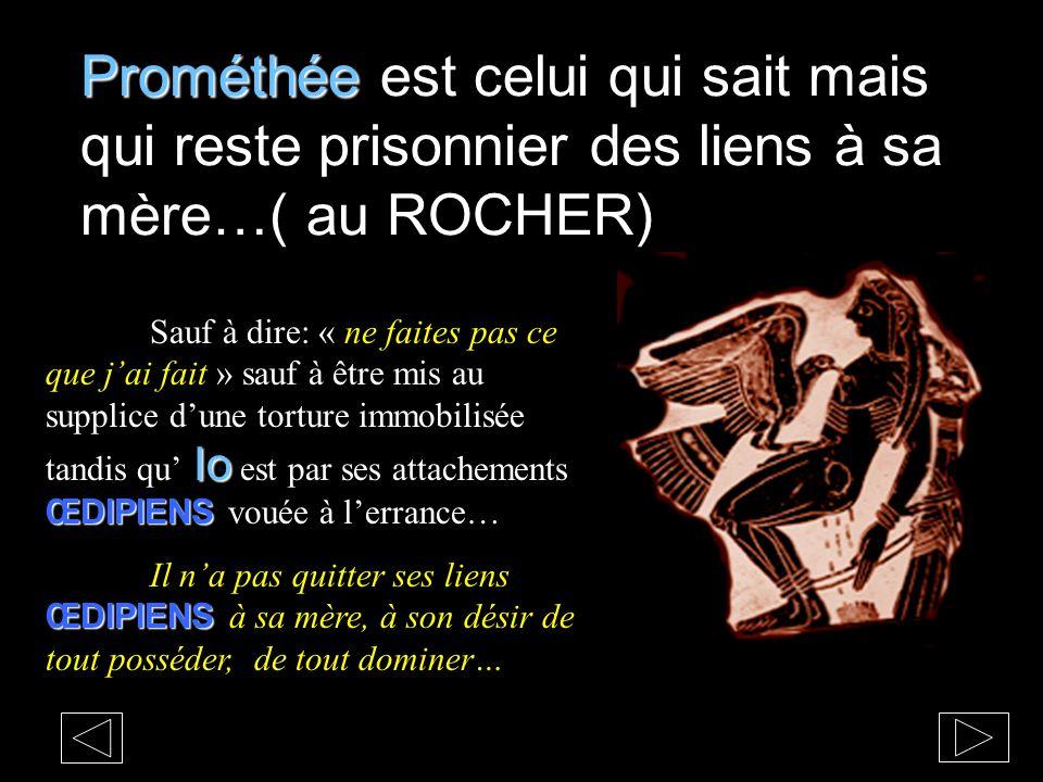 Prométhée Prométhée est celui qui sait mais qui reste prisonnier des liens à sa mère…( au ROCHER) Io ŒDIPIENS Sauf à dire: « ne faites pas ce que jai