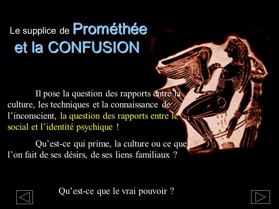 Prométhée et la CONFUSION Le supplice de Prométhée et la CONFUSION Quest-ce que le vrai pouvoir ? Il pose la question des rapports entre la culture, l