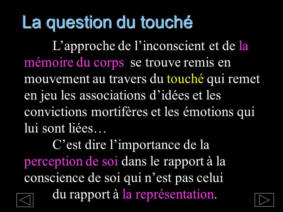 La question du touché Lapproche de linconscient et de la mémoire du corps se trouve remis en mouvement au travers du touché qui remet en jeu les assoc