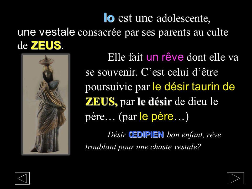 Io ZEUS Io est une adolescente, une vestale consacrée par ses parents au culte de ZEUS. ZEUS, le désir Elle fait un rêve dont elle va se souvenir. Ces