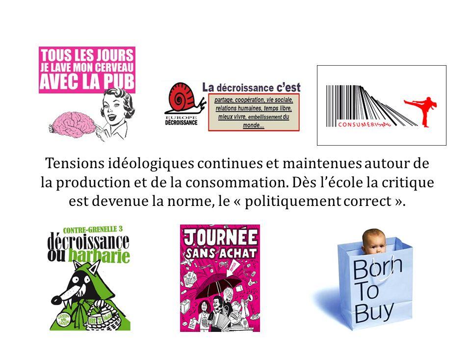 Tensions idéologiques continues et maintenues autour de la production et de la consommation.