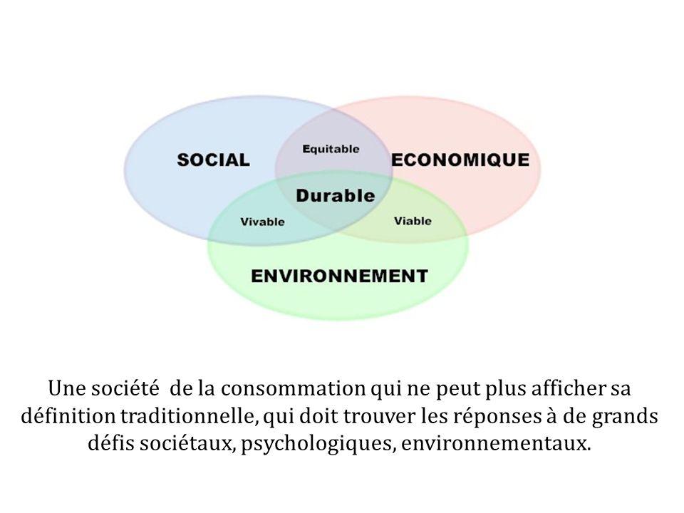 Une société de la consommation qui ne peut plus afficher sa définition traditionnelle, qui doit trouver les réponses à de grands défis sociétaux, psyc