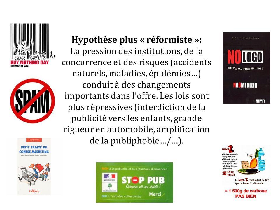 Hypothèse plus « réformiste »: La pression des institutions, de la concurrence et des risques (accidents naturels, maladies, épidémies…) conduit à des changements importants dans loffre.