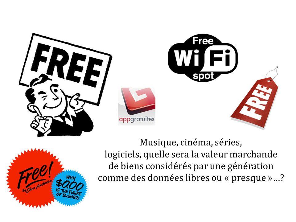 Musique, cinéma, séries, logiciels, quelle sera la valeur marchande de biens considérés par une génération comme des données libres ou « presque »…?