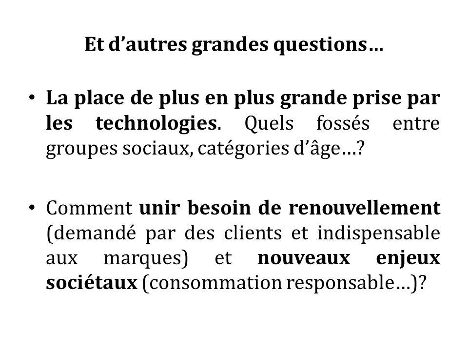 Et dautres grandes questions… La place de plus en plus grande prise par les technologies. Quels fossés entre groupes sociaux, catégories dâge…? Commen