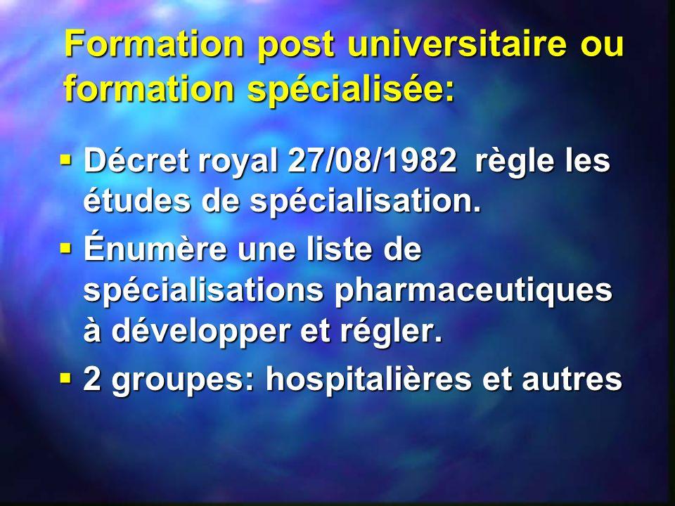 Formation post universitaire ou formation spécialisée: Décret royal 27/08/1982 règle les études de spécialisation. Décret royal 27/08/1982 règle les é