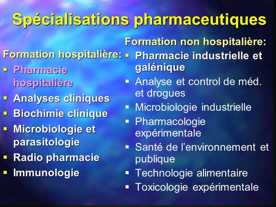 Spécialisations pharmaceutiques Formation hospitalière: Pharmacie hospitalière Pharmacie hospitalière Analyses cliniques Analyses cliniques Biochimie