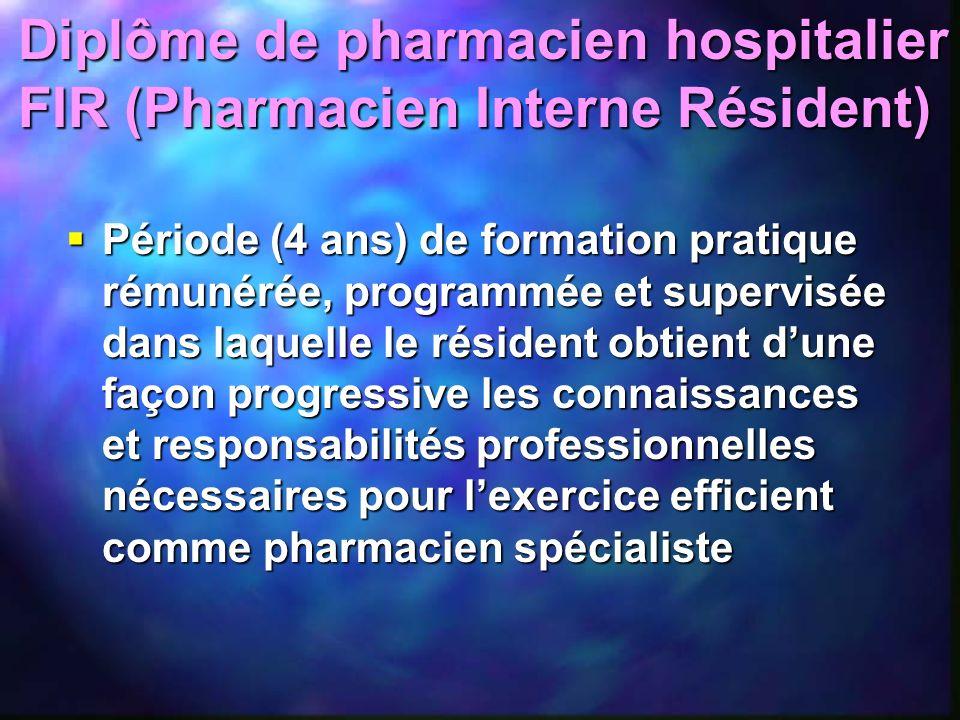 Diplôme de pharmacien hospitalier FIR (Pharmacien Interne Résident) Période (4 ans) de formation pratique rémunérée, programmée et supervisée dans laq