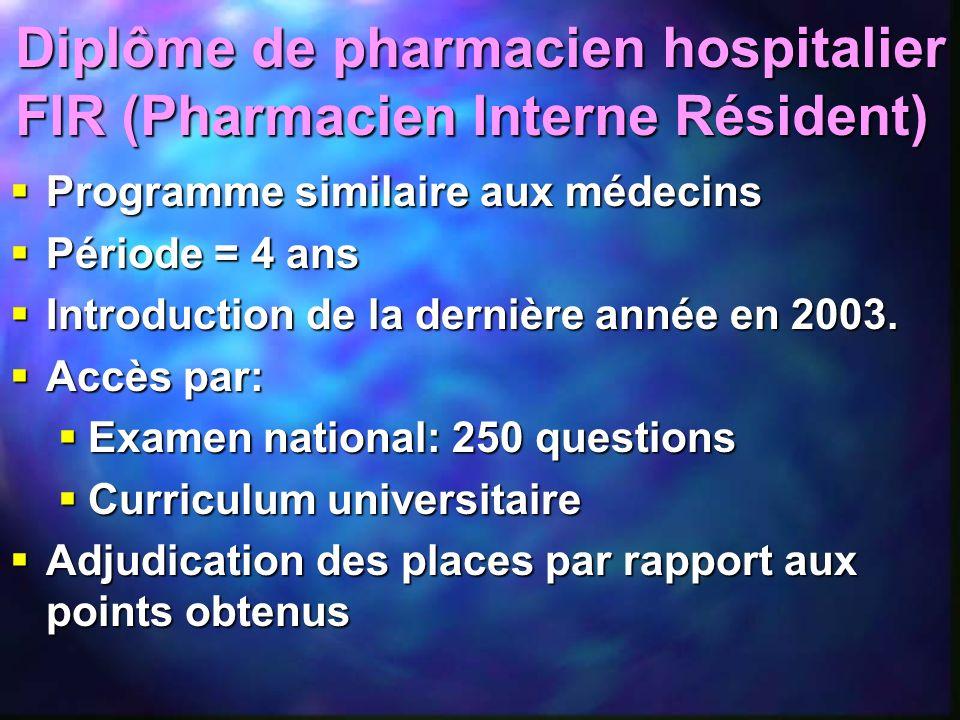 Programme similaire aux médecins Programme similaire aux médecins Période = 4 ans Période = 4 ans Introduction de la dernière année en 2003. Introduct