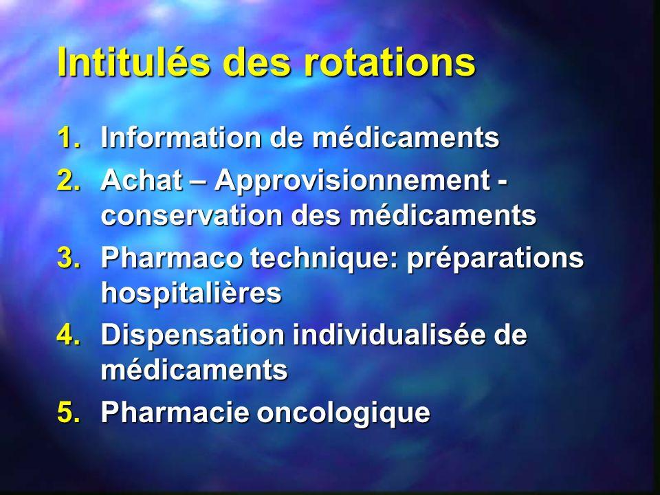 Intitulés des rotations 1.Information de médicaments 2.Achat – Approvisionnement - conservation des médicaments 3.Pharmaco technique: préparations hos