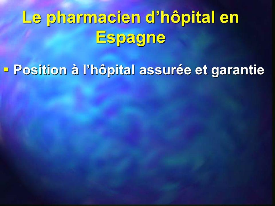Le pharmacien dhôpital en Espagne Position à lhôpital assurée et garantie Position à lhôpital assurée et garantie