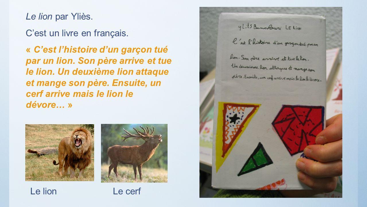 Le lion par Yliès. Cest un livre en français. « Cest lhistoire dun garçon tué par un lion. Son père arrive et tue le lion. Un deuxième lion attaque et
