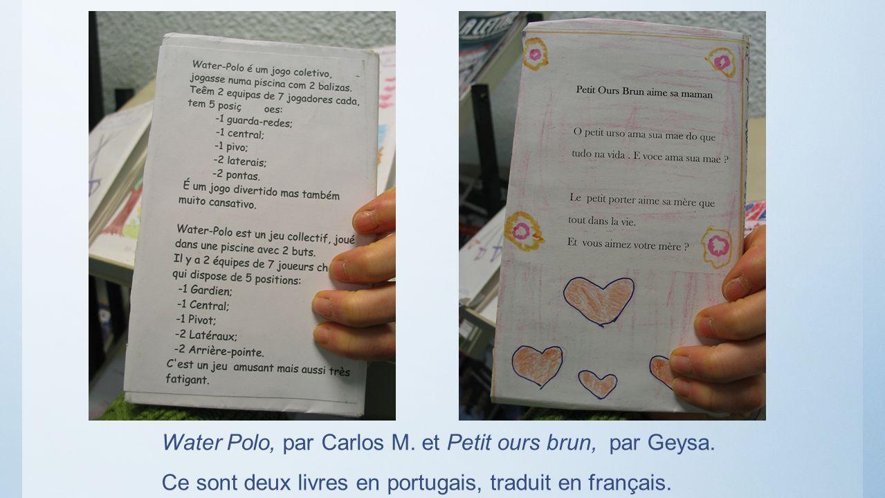 Water Polo, par Carlos M. et Petit ours brun, par Geysa. Ce sont deux livres en portugais, traduit en français.
