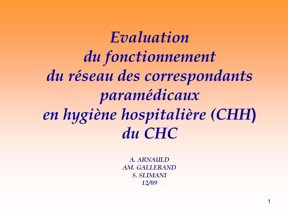 1 Evaluation du fonctionnement du réseau des correspondants paramédicaux en hygiène hospitalière (CHH ) du CHC A.