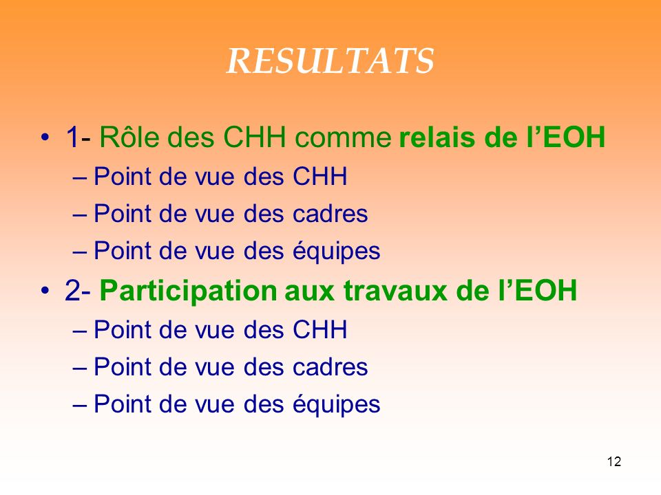 12 RESULTATS 1- Rôle des CHH comme relais de lEOH –Point de vue des CHH –Point de vue des cadres –Point de vue des équipes 2- Participation aux travaux de lEOH –Point de vue des CHH –Point de vue des cadres –Point de vue des équipes