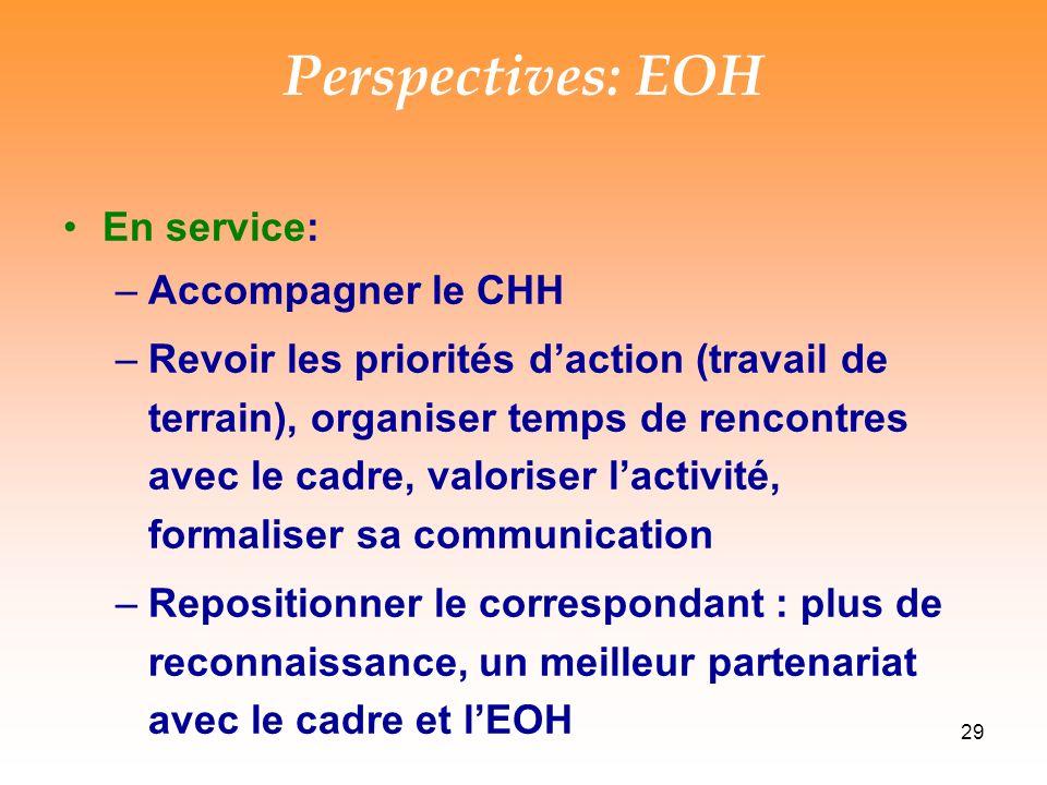 29 Perspectives: EOH En service: –Accompagner le CHH –Revoir les priorités daction (travail de terrain), organiser temps de rencontres avec le cadre, valoriser lactivité, formaliser sa communication –Repositionner le correspondant : plus de reconnaissance, un meilleur partenariat avec le cadre et lEOH