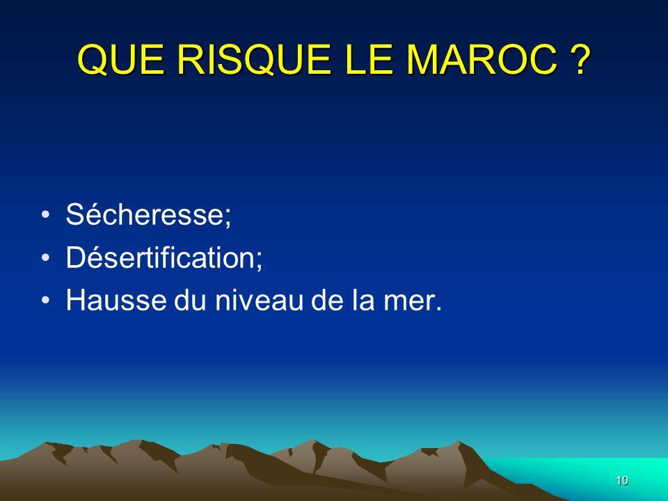 10 QUE RISQUE LE MAROC ? Sécheresse; Désertification; Hausse du niveau de la mer.