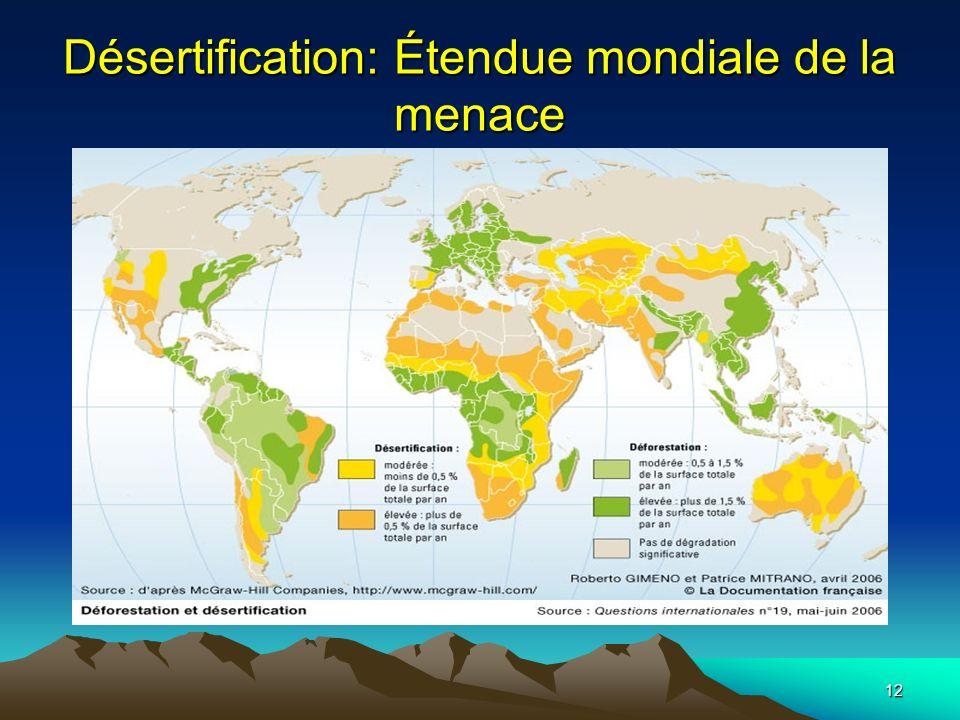 12 Désertification: Étendue mondiale de la menace