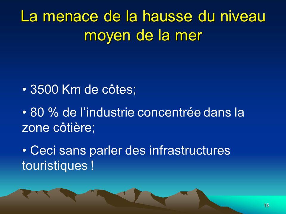 15 La menace de la hausse du niveau moyen de la mer 3500 Km de côtes; 80 % de lindustrie concentrée dans la zone côtière; Ceci sans parler des infrast
