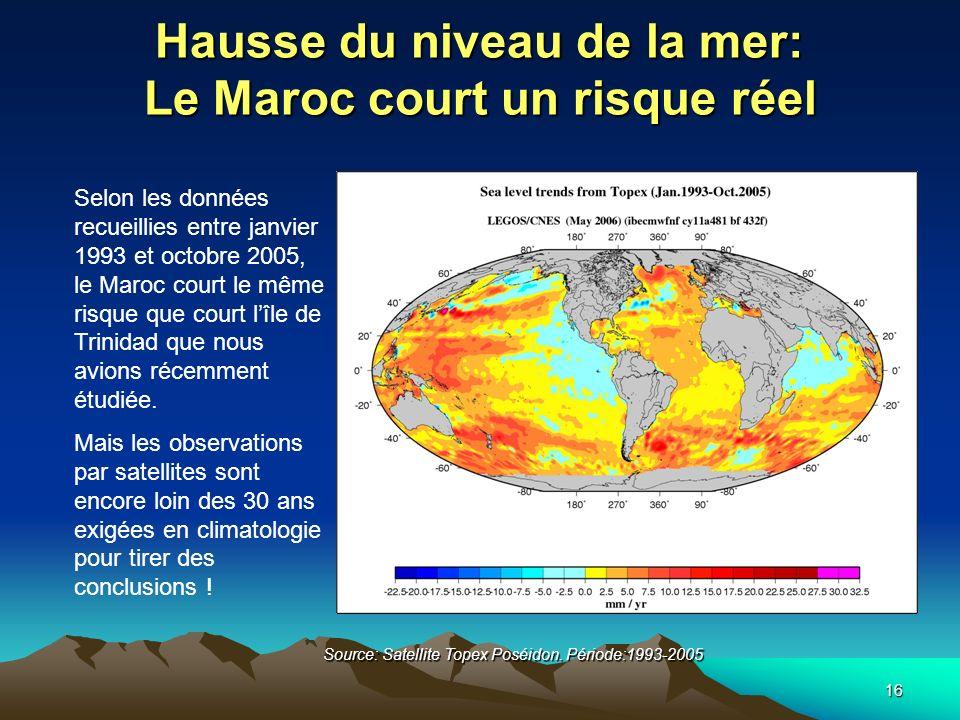 16 Hausse du niveau de la mer: Le Maroc court un risque réel Source: Satellite Topex Poséidon. Période:1993-2005 Selon les données recueillies entre j